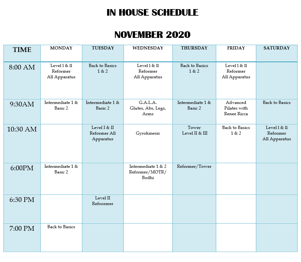 In House Class Schedule