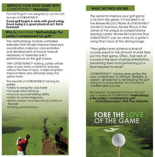 Improve your golf game with GYROTONIC® TRAINING! The Golf Program was designed by Juliu Horvath founder of GYROTONIC®. Good golf begins & ends with good swing. Good swing is a good physical act, first and foremost.